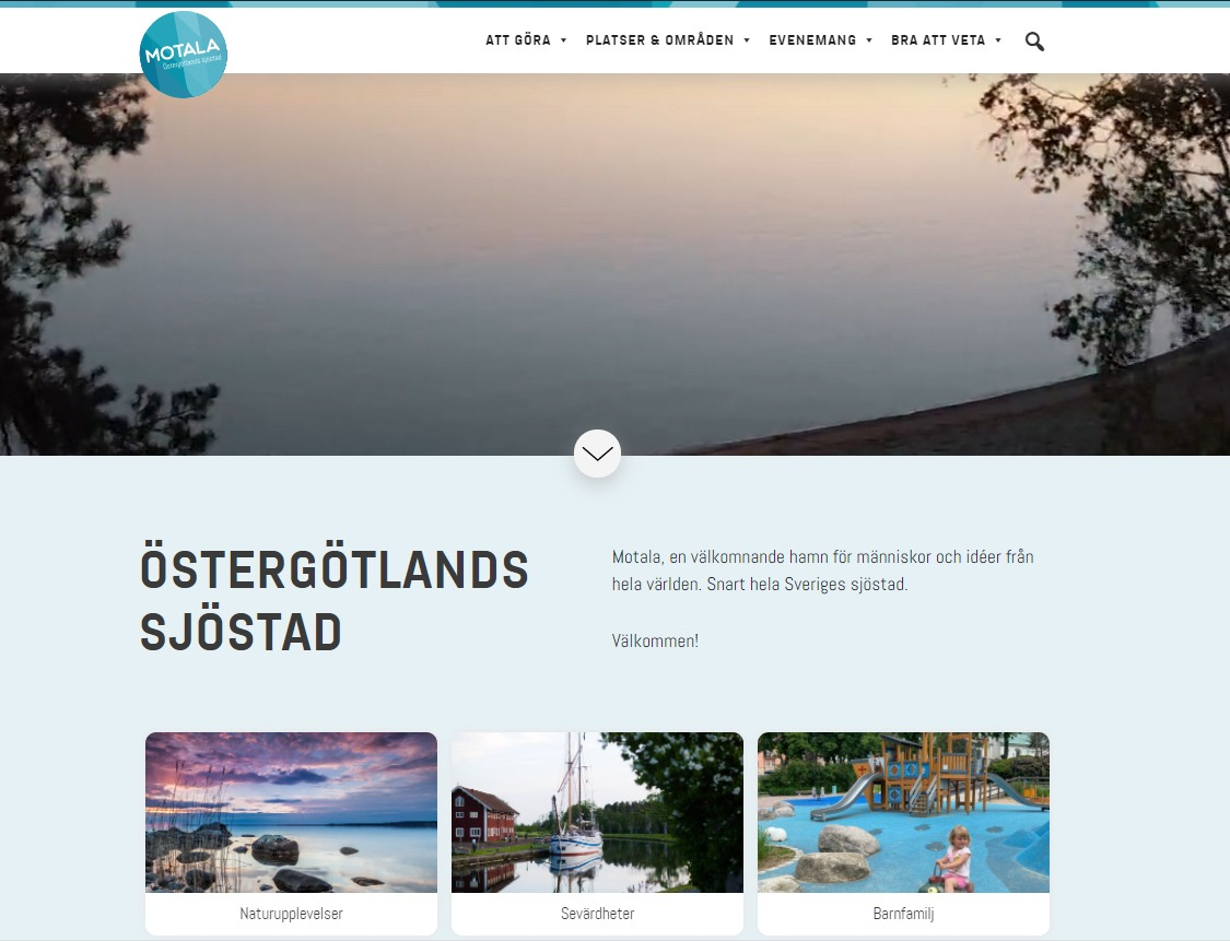 """Startsida på en hemsida där det står """"Motala Östergötlands sjöstad"""""""